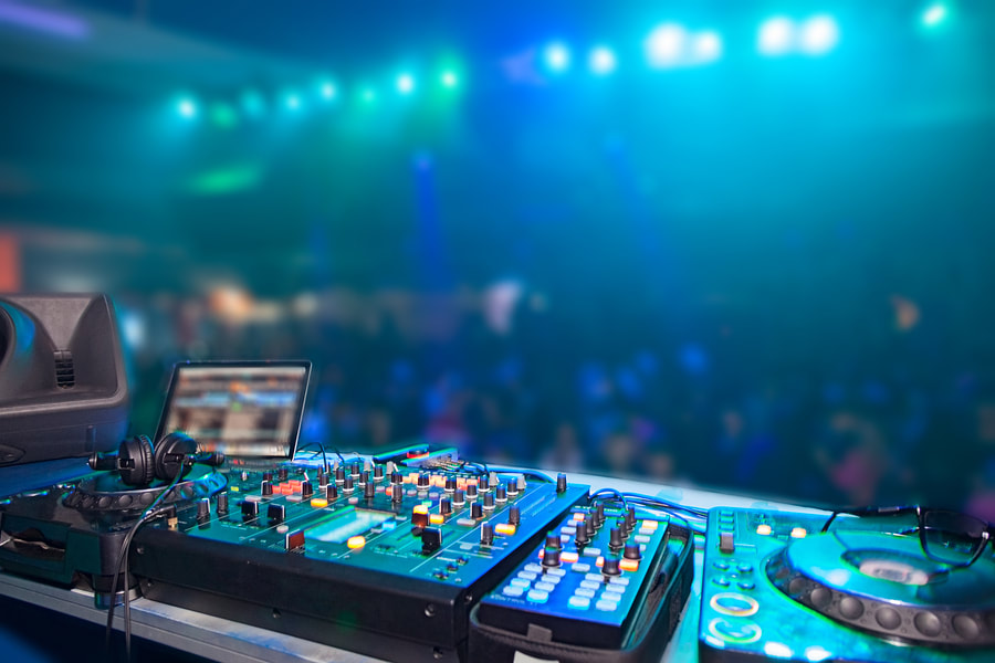 professional dj table at night club